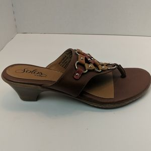 Solos by soft spot Brown heeled sandals size nine